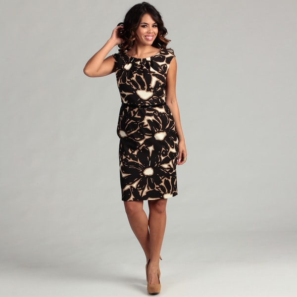 London Times Women's Taupe/ Black Pleated Dress
