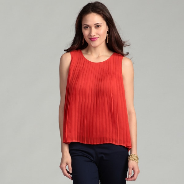 Vince Camuto Women's Red Pepper Pleated Blouse