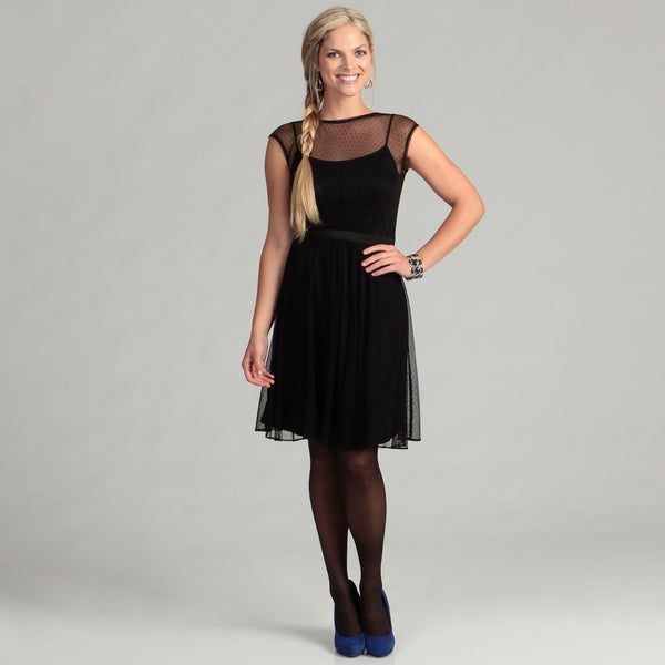 London Times Women's Black Banded Waist Dress