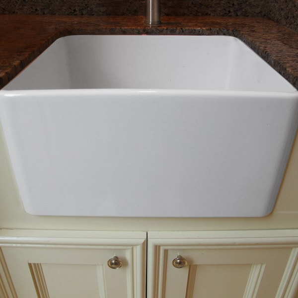 Highpoint Collection Fireclay 24-inch Kitchen Sink with Grid and Drain