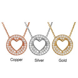 Journee Collection Silver, Gold, or Rose Gold-plated Cubic Zirconia Heart Necklace