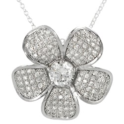 Journee Collection Sterling Silver Cubic Zirconia Flower Necklace