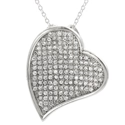 Journee Collection  Sterling Silver Pave-set Cubic Zirconia Heart Necklace