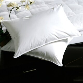 White Plush-top Medium-Density Goose Feather Pillows (Set of 2)