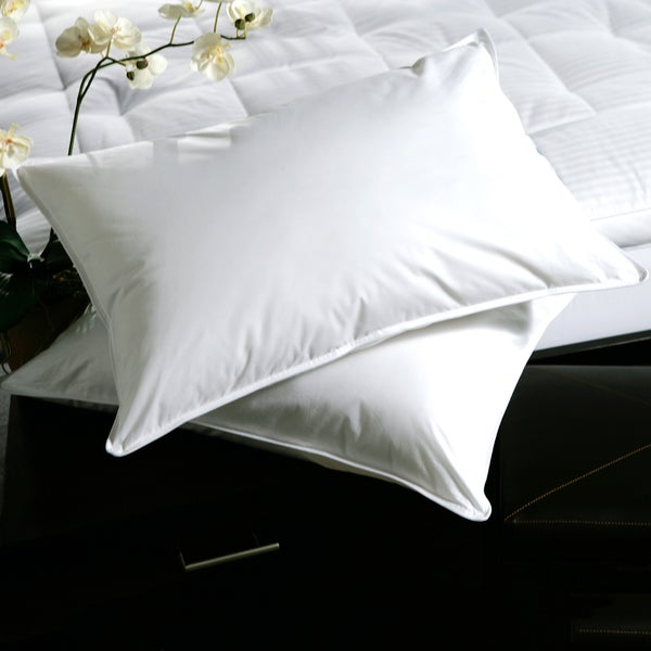 White Plush Top Medium Density Goose Feather Pillows (Set of 2)