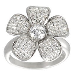 Journee Collection  Sterling Silver Cubic Zirconia Flower Ring