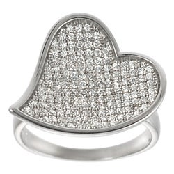 Journee Collection  Sterling Silver Pave-set Cubic Zirconia Heart Ring