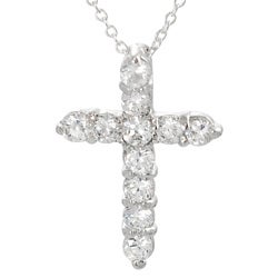 Journee Collection  Sterling Silver Round-cut Cubic Zirconia Cross Necklace