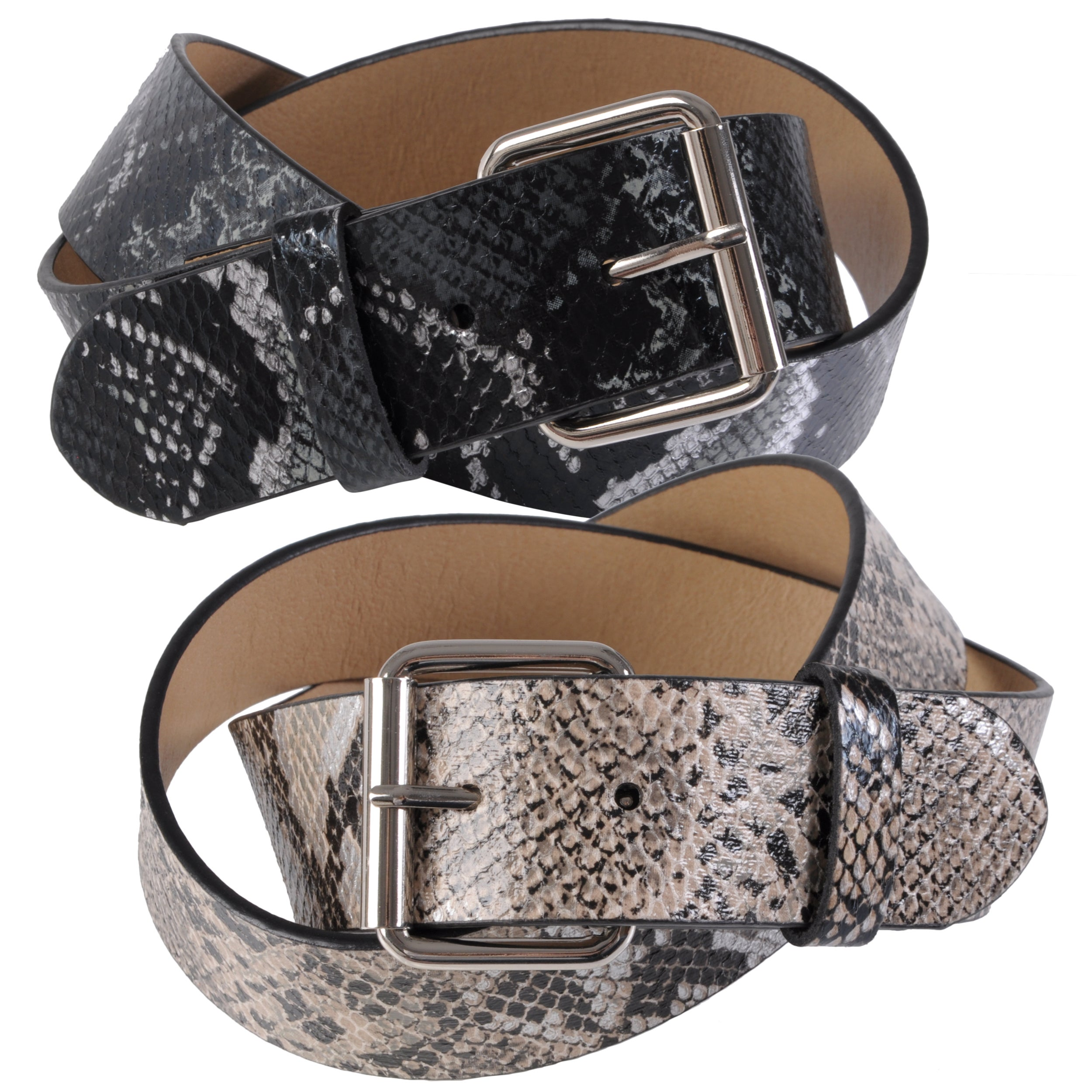 Journee Collection Women's Python Print Casual Belt