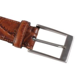 Joseph Abboud Men's Topstitched Croc Print Genuine Leather Belt