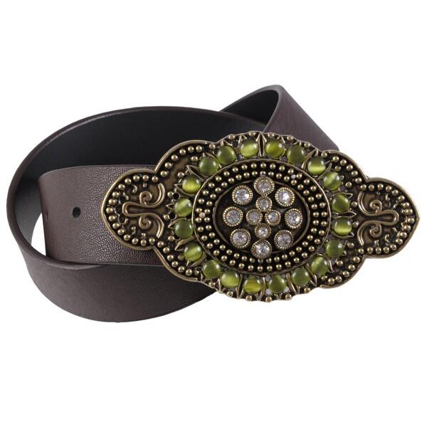 Journee Collection Women's Rhinestone Buckle Leather Belt