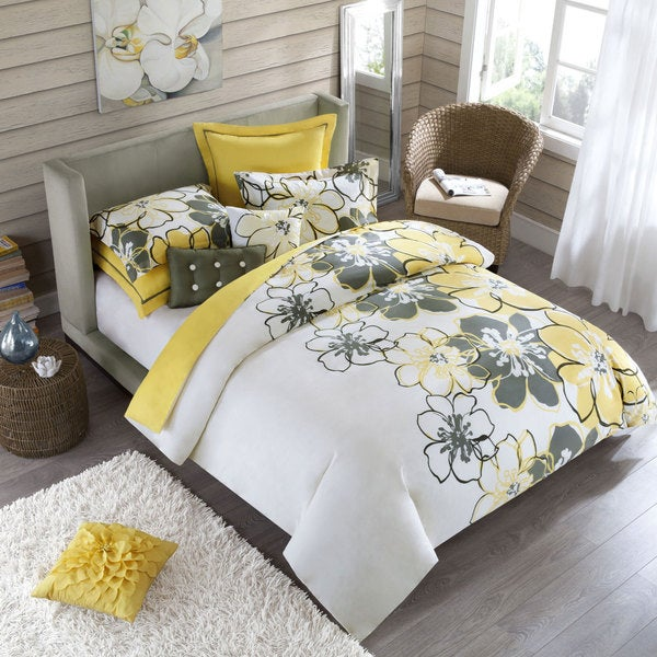 shop allison full queen size 4 piece yellow polyester comforter set free shipping today. Black Bedroom Furniture Sets. Home Design Ideas