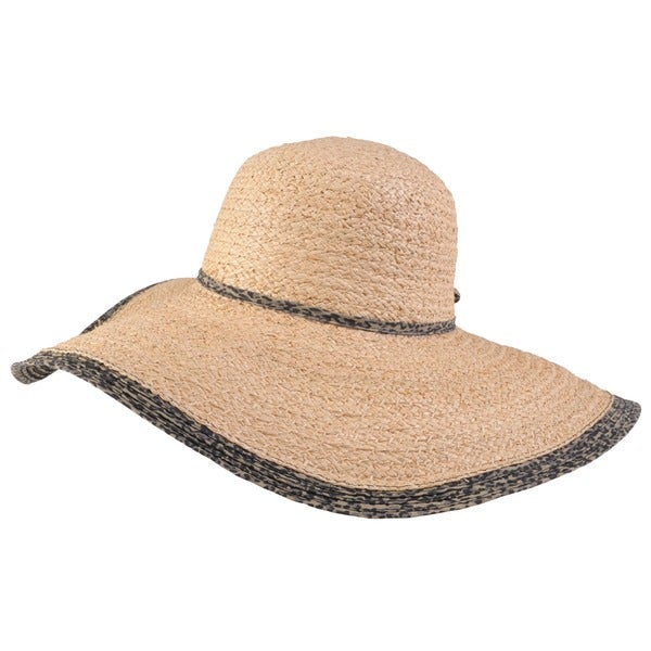 Journee Collection Women's Leopard Trim Raffia Sunhat
