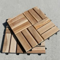 Le click Grade C Wood Windmill Style Interlocking Teak Decktiles (Box of 10) - Thumbnail 1