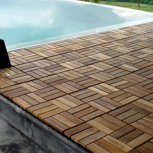 Wood Deck And Patio Interlocking Tiles ~ Le click grade c wood windmill style interlocking teak