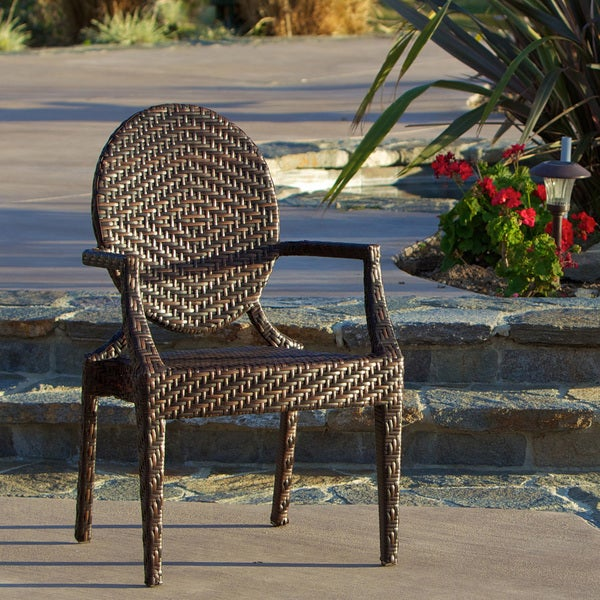 Adriana Brown PE Wicker and Iron Frame Wide-legged Outdoor Chair by Christopher Knight Home