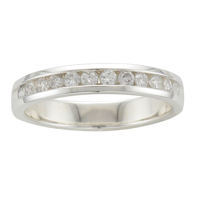 Unending Love Sterling Silver 3/8ct TDW Diamond Channel-set Wedding Band (H-I, I2)