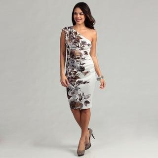 London Times Women's White/ Dark Brown One-shoulder Dress