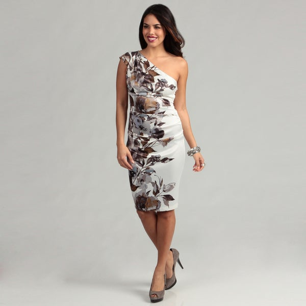 London Times Women's White/ Dark Brown One-shoulder Dress