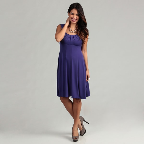 London Times Women's Deep Blue Fit & Flare Dress FINAL SALE
