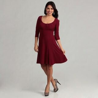 London Times Women's Merlot 3/4-sleeve Scoop Dress