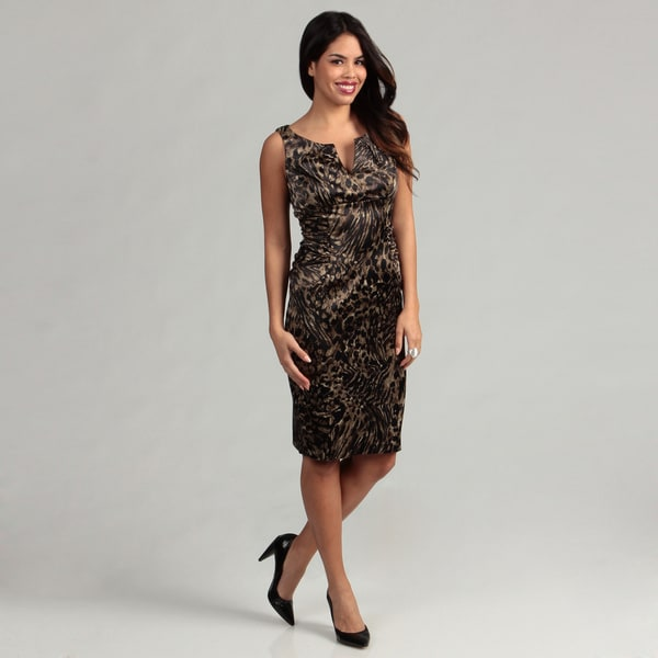London Times Women's Black/ Brown Ruched Dress