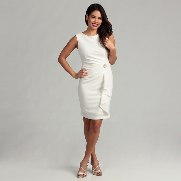London Times Women's Soft White Sheath Dress