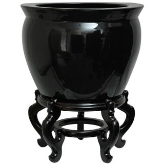 Porcelain 20-inch Solid Black Fishbowl (China)