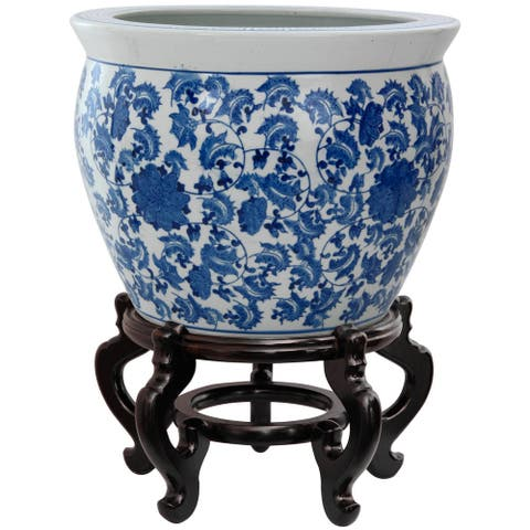 "Handmade 20"" Porcelain Blue and White Floral Fishbowl - 20.5"" Diameter x 16.5"" H"
