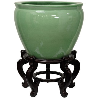 Handmade Porcelain 20-inch Celadon Fishbowl (China)