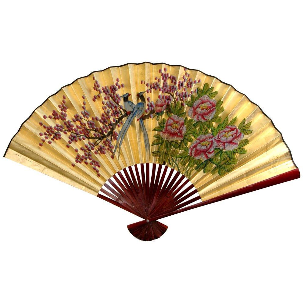 Dynasty Handmade 30-inch Wide Gold Leaf Love Birds Fan (C...