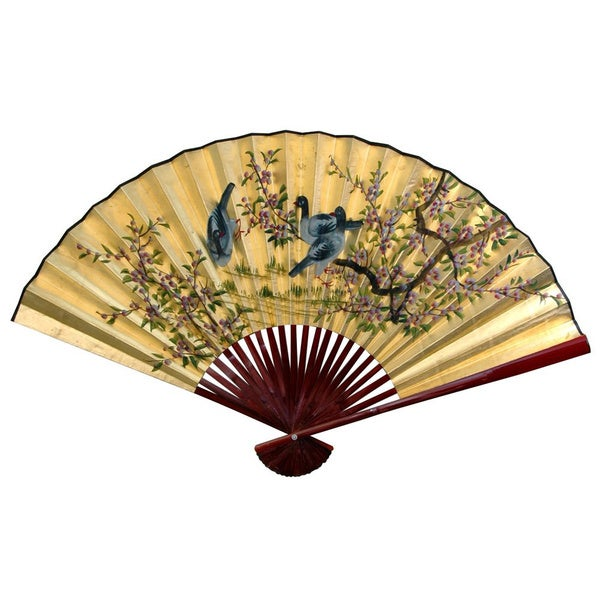 Handmade 30-inch Wide Gold Leaf Birds and Flowers Fan (China)