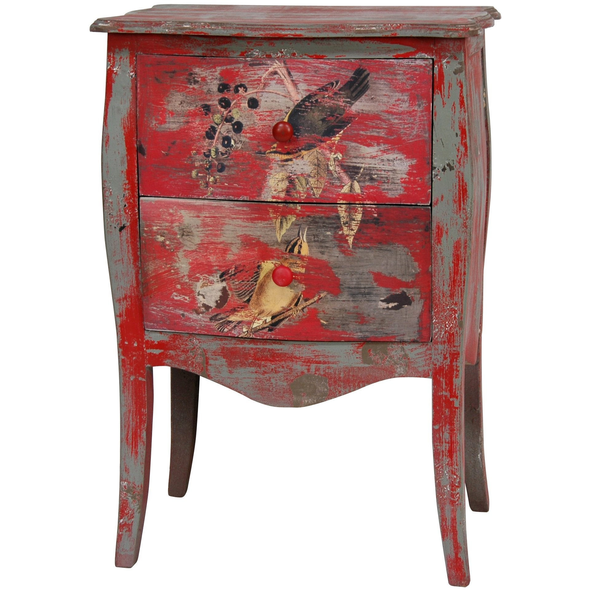 Distressed Red Two Drawer End Table (China)