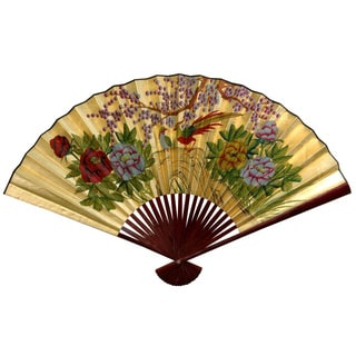 30-inch Wide Gold Leaf Cherry Blossom Fan (China)