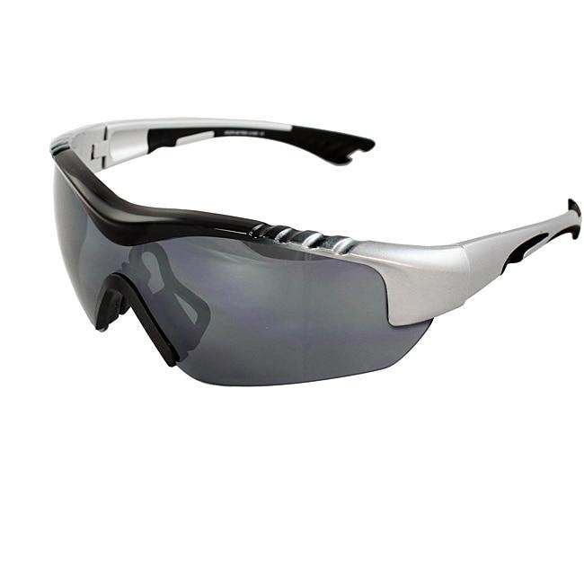 Men's 4932RV-BKSVRSM Silver/ Black Wrap Sunglasses