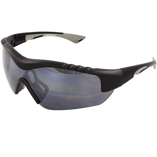 Men's 4932RV-BKSM Grey/ Black Wrap Sunglasses