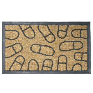 "Rubber-Cal 'Coming and Going' Coco Rubber Doormat (18"" x 30"")"