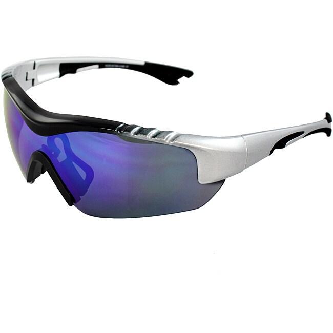 Men's 4932RV-BKSVRBU Silver/ Black Wrap Sunglasses