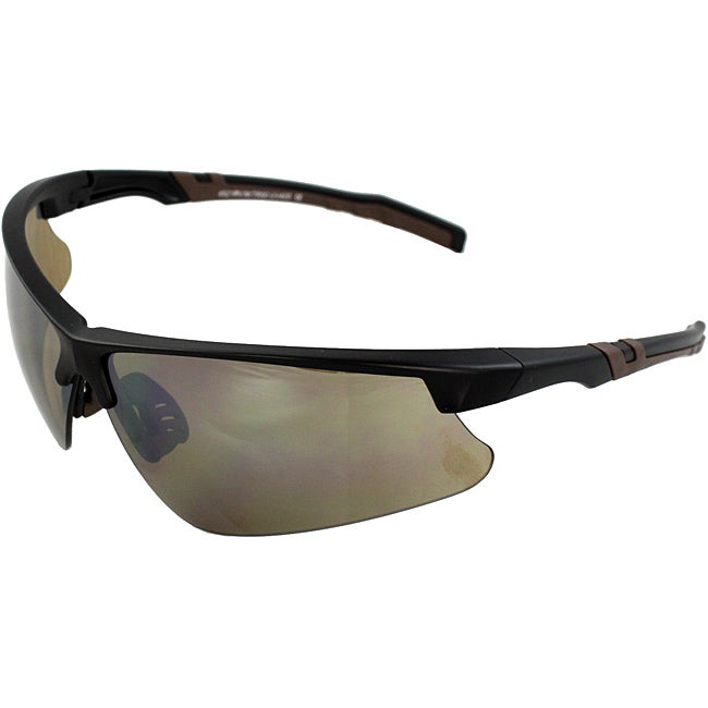 Men's 4932RV-BKSM Brown/ Black Wrap Sunglasses