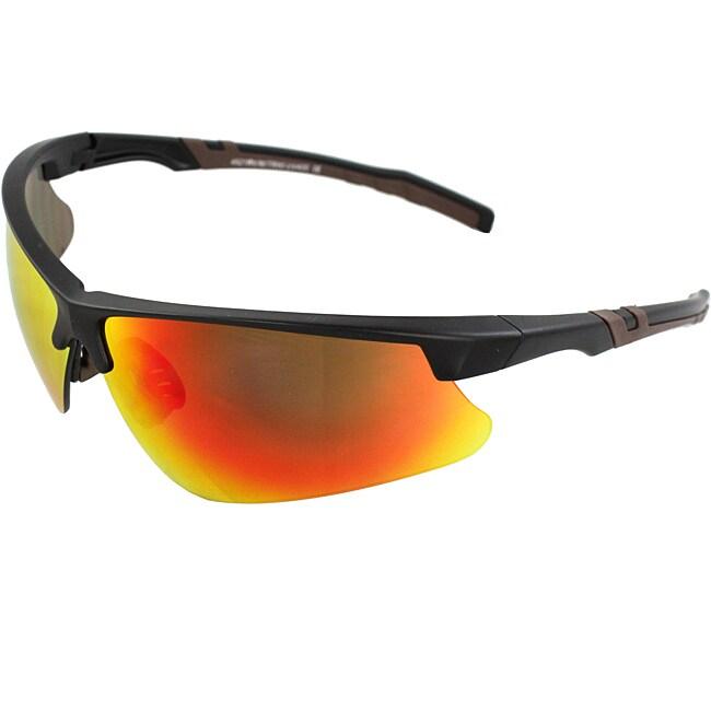 Men's 4921RV-BKR Brown/ Black Wrap Sunglasses