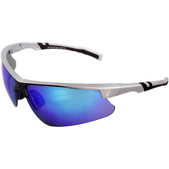Men's 4921RV-SVRBU Silver/ Black Wrap Sunglasses