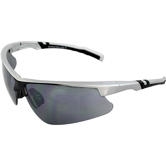 Men's 4921RV-SVRSM Silver/ Black Wrap Sunglasses