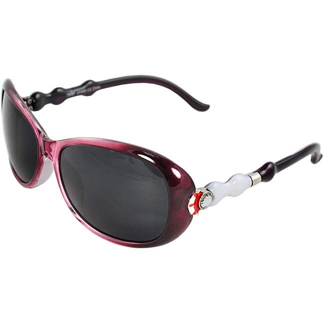 Women's Burgundy Oval Sunglasses