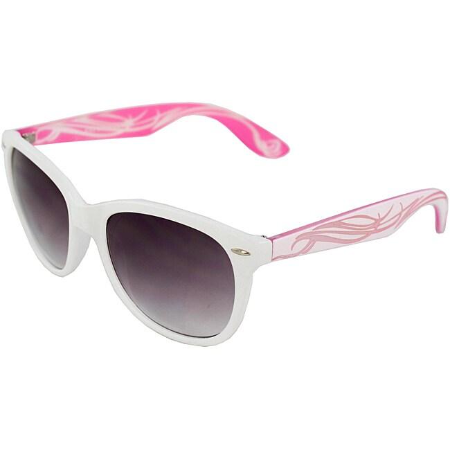 Unisex White/ Pink Fashion Sunglasses