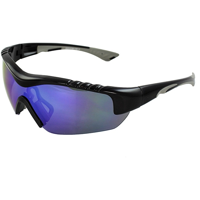 TR90 Wrap Black/Grey Semi-Rimless Frame Sunglasses with Blue Lenses and Comfortable Rubber Cushion Pad