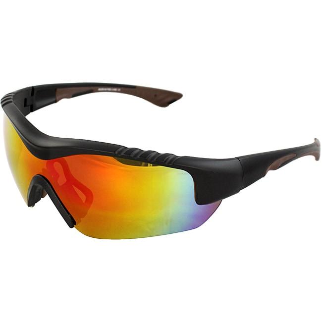 TR90 Wrap Black/Brown Semi-Rimless Frame Sunglasses