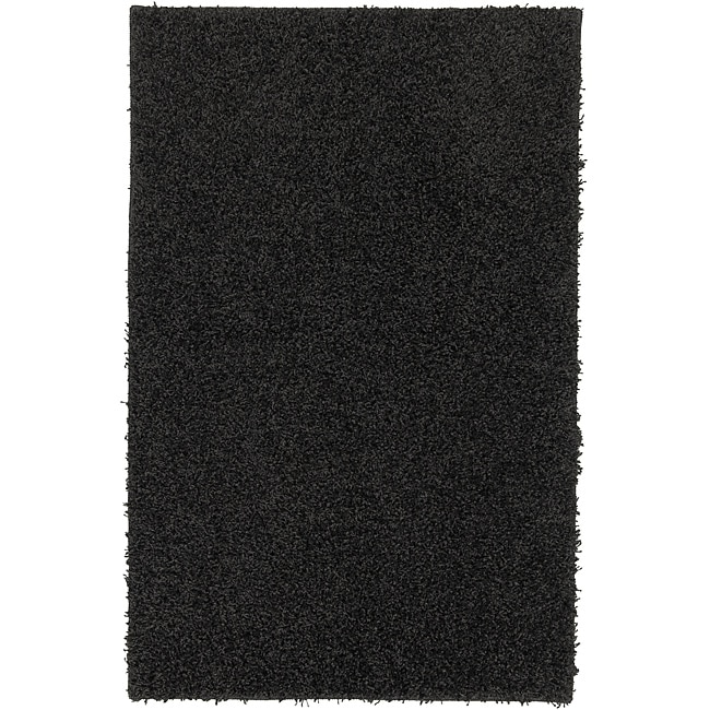 Solid Shag Black Rug (5' x 7')