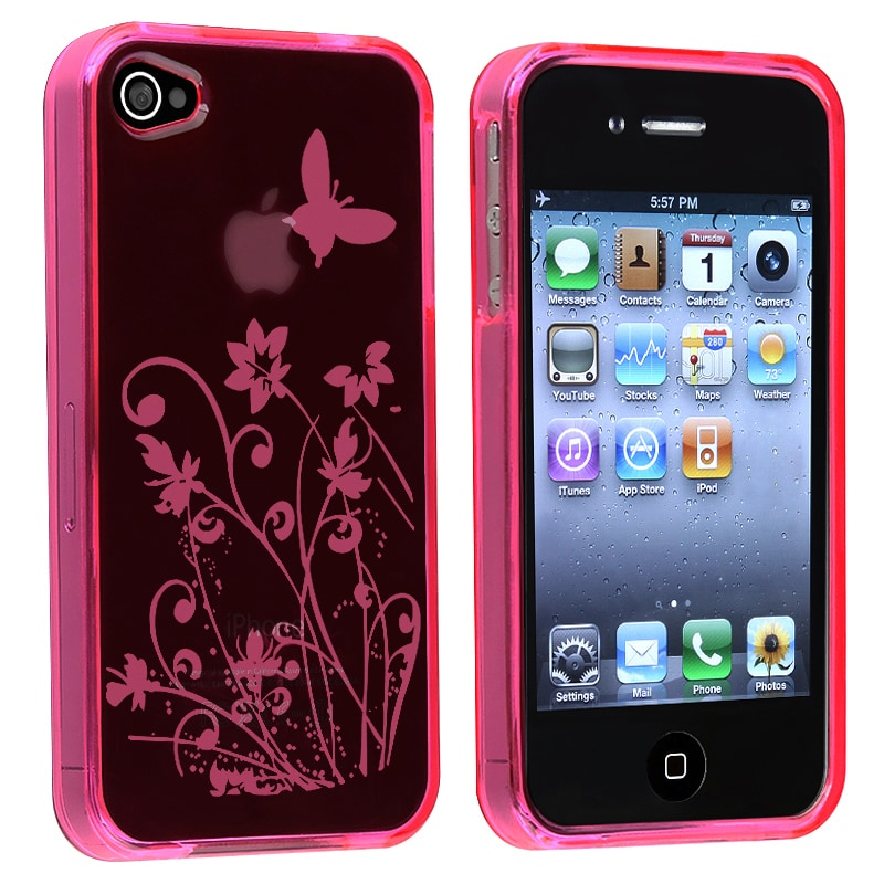 INSTEN Clear Hot Pink Flower TPU Rubber Phone Case Cover for Apple iPhone 4/ 4S