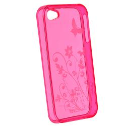 INSTEN Clear Hot Pink Flower TPU Rubber Phone Case Cover for Apple iPhone 4/ 4S - Thumbnail 1