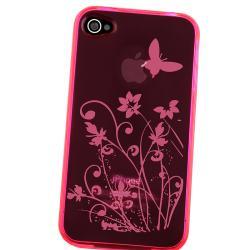 INSTEN Clear Hot Pink Flower TPU Rubber Phone Case Cover for Apple iPhone 4/ 4S - Thumbnail 2